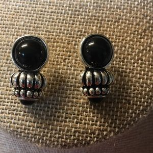 Jewelry - Silver plated and black earrings